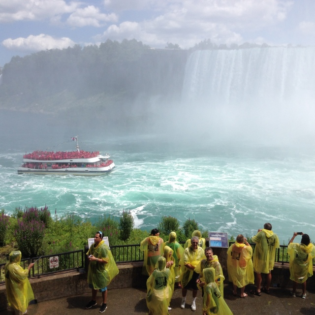 See that boat with all those people in red ponchos? That's where we were going next.