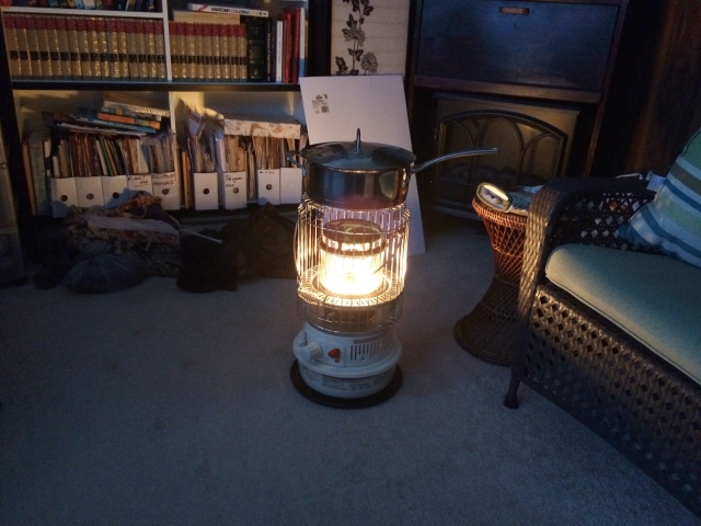 Kerosene heater – with supper in the pot on top – light and warmth