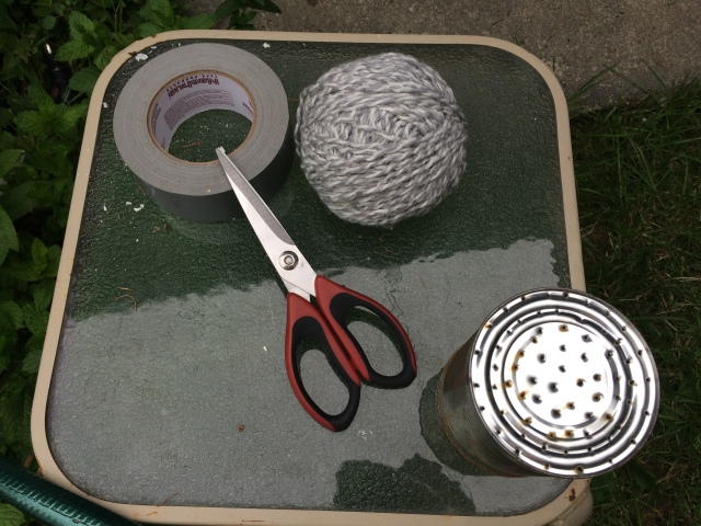 Scissors, a ball of old wool, and duct tape - a gardeners best friend